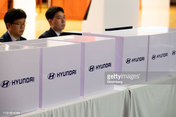 Ballot boxes sit during the Hyundai Motor Co annual shareholders meeting in the company's headquarters in Seoul South Korea on Friday March 22 2019...