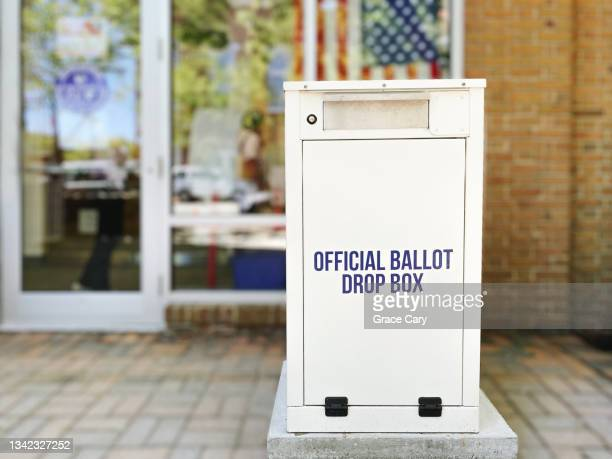 ballot drop box outside of polling place - midterm election stock pictures, royalty-free photos & images
