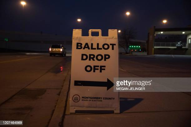 A ballot drop off sign stands outside of the Board of Election office in Dayton Ohio on March 17 2020 after the Ohio Primaries were cancelled Ohio...