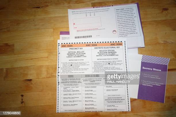 A ballot for District of Columbia voters for the November 3 2020 Presidential congressional and local elections is viewed in Washington DC on October...