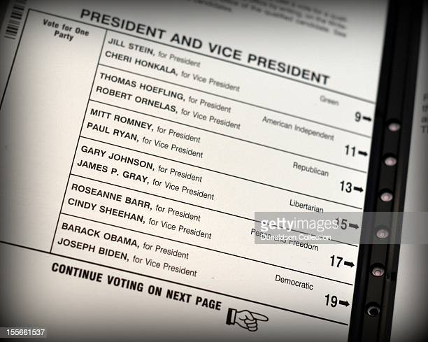 A ballot for the 2012 US Presidential election in the voting booth is marked with a vote cast for Barack Obama and Joseph Biden on November 6 2012 in...