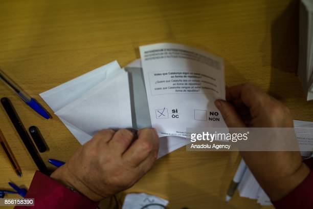A ballot marked yes is seen at a polling station in the Catalan independence referendum in Barcelona Spain on October 1 2017 Catalonia's regional...