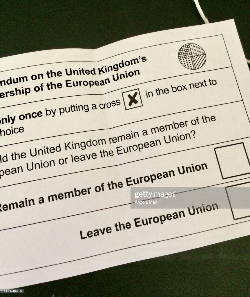 Ballot paper for the referendum : Stock Photo