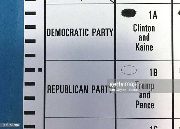 A ballot paper with a vote for Clinton and Kaine used for poling on election day in the coastal town of Madison Connecticut on November 08 2016