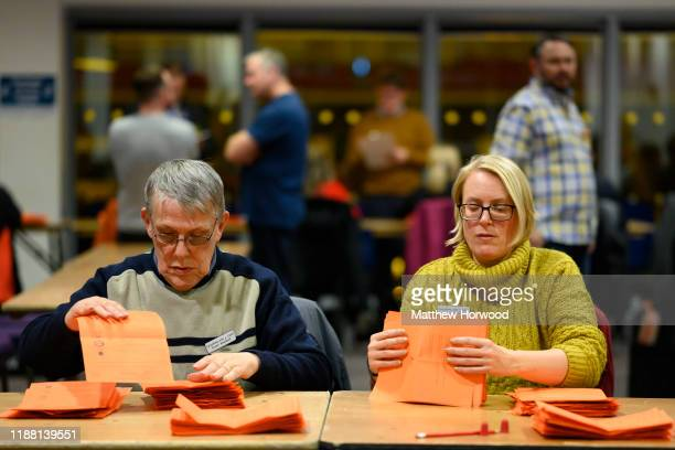 Ballot papers are counted at the Cardiff City stadium for the Cardiff North constituency on December 13 2019 in Cardiff Wales The current...