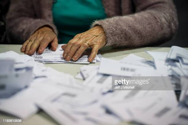 Ballot papers are counted at the Glasgow count center at the SECC on December 12 2019 in Glasgow Scotland The SNP are expecting to return the highest...