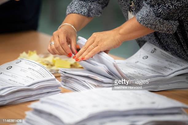 Ballot papers are counted at the Pembrokeshire Archives building in Prendergast on May 26 2019 in Haverfordwest Wales Voting has taken place across...