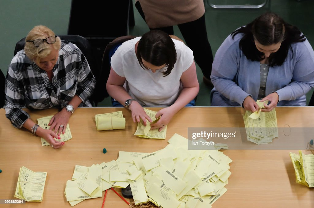 Ballot papers are counted at the Silksworth Community Pool, Tennis and Wellness Centre as the general election count begins on June 8, 2017 in Sunderland, United Kingdom. After a snap election was called, the United Kingdom went to the polls today following a closely fought election. The results from across the country are being counted and an overall result is expected in the early hours.