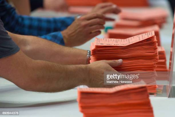 Ballot papers are counted at the Sport Wales National Centre on June 9 2017 in Cardiff United Kingdom After a snap election was called the United...