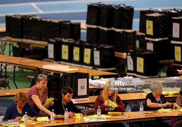 Ballot papers are counted prior to the arrival of Liberal Democrat leader and Deputy Prime Minister Nick Clegg during his constituency declaration at...