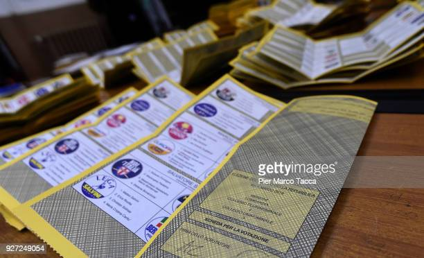 Ballot papers are displayed in a polling station during the 2018 general election on March 4 2018 in Milan Italy The economy and immigration are key...