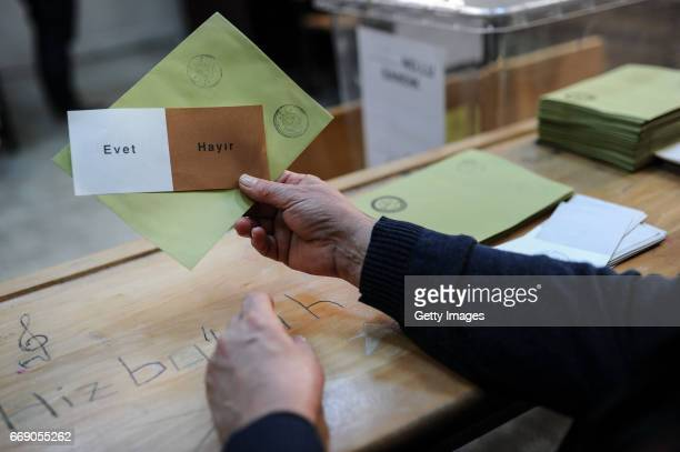 Ballot papers are seen at a polling station during a referendum in Istanbul April 16 2017 Turkey Millions of Turks are heading to the polls to vote...
