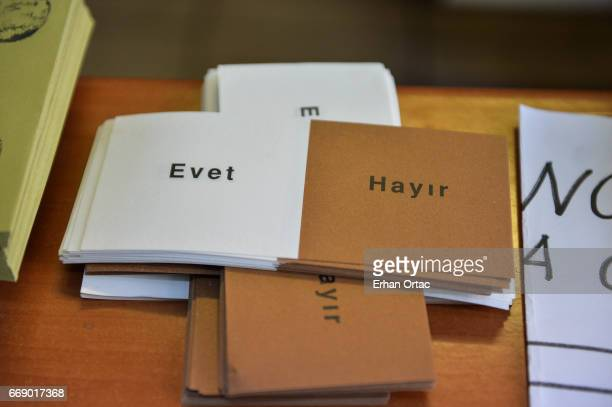 Ballot papers are seen at a polling station during a referendum on April 16 2017 in Ankara Turkey Millions of Turks are heading to the polls to vote...