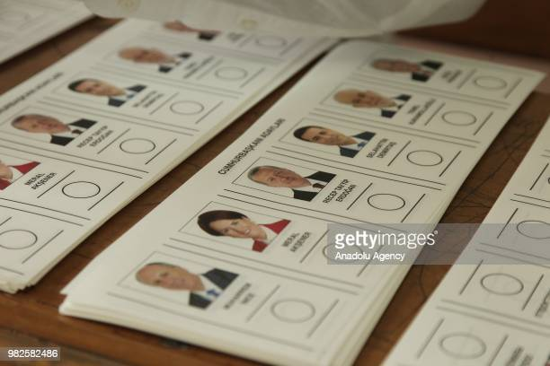 Journalists are seen at the Justice and Development Party headquarters after Turkish presidential and parliamentary elections to follow its results...