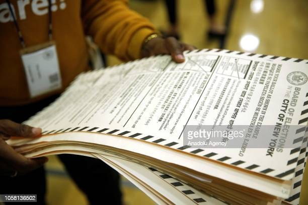 Ballot papers are seen during the midterm election at the High School Art and Design polling station in Manhattan, New York, United States on...