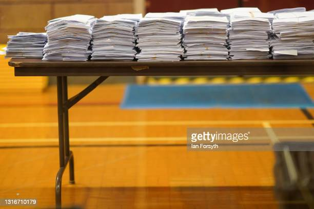 Ballot papers are stacked during the Hartlepool Parliamentary By-election on May 07, 2021 in Hartlepool, England. Hartlepool will decide between...