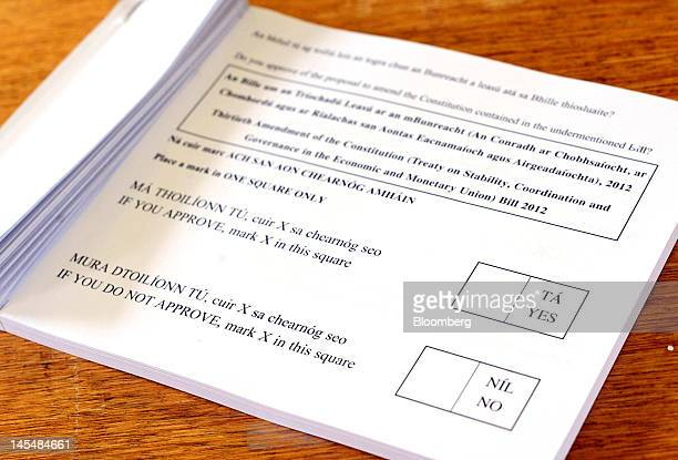 Ballot papers marked with individual boxes for a 'YES' or a 'NO' vote are seen at a polling station during the vote on the European Union's fiscal...
