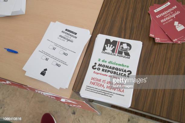 Ballot papers seen on the monarchy next to the announcement of the following voting days Volunteers from the Autonomous University of Madrid...