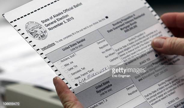 A ballot showing a vote for US Senate writein candidate Lisa Murkowski is seen as the absentee ballots are counted at the State of Alaska Division of...