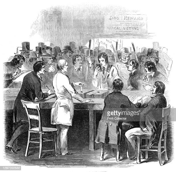 "Balloting for president, 1844. Presidential elections in the USA. ""The ballot-boxes were placed on a long table, at which half a dozen of the..."