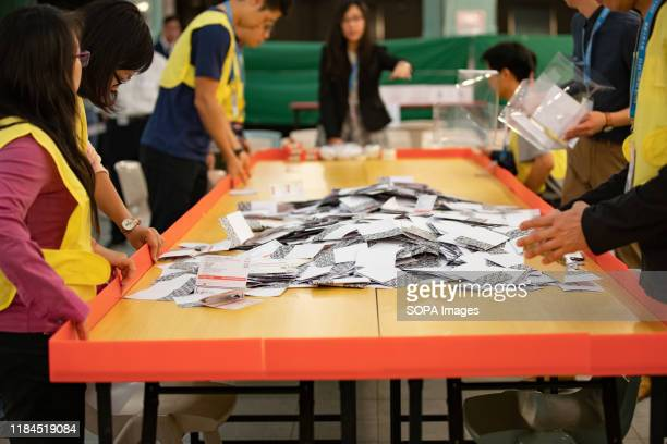 Ballots are being displayed for counting at a polling station Nearly 3 million Hong Kong citizens cast their ballots on Sundays district council...