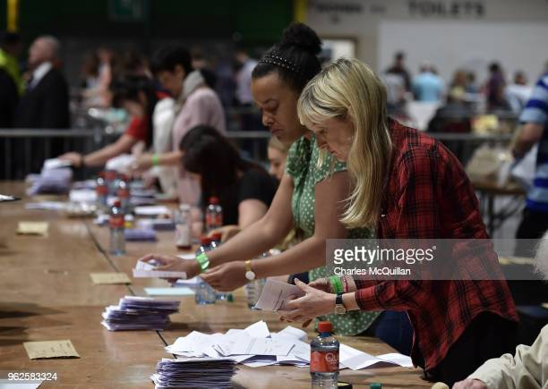 Ballots are counted as the count in the Irish referendum on the 8th amendment concerning the country's abortion laws takes place at the RDS centre on...