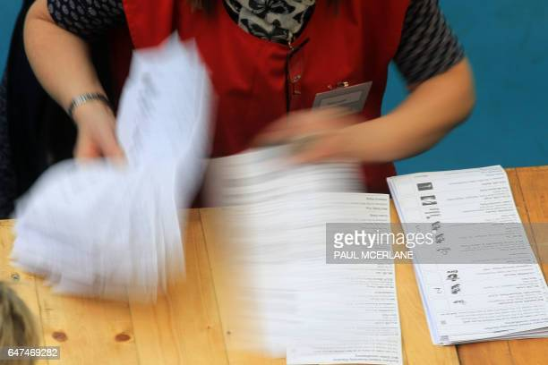 Ballots are counted by count staff at the MidUlster count for the Northern Ireland Assembly elections in Ballymena Co Antrim Northern Ireland on...