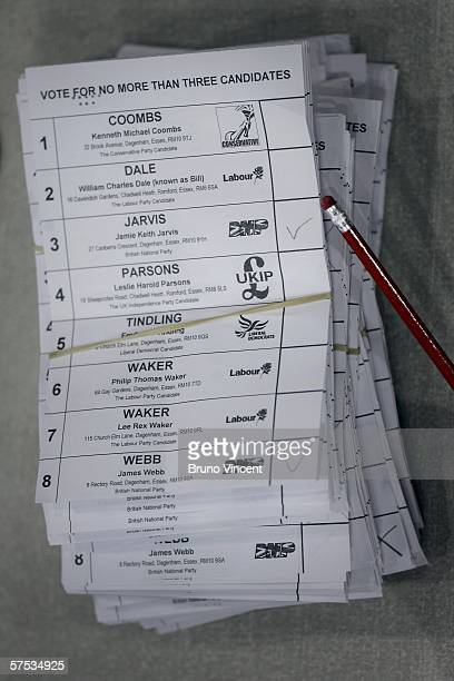 Ballots are counted in the local council election for Barking and Dagenham on May 4 2006 in London The right wing 'British National Party' is...