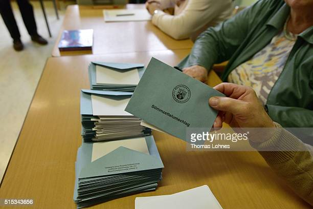 Ballots are held in RhinelandPalatinate state elections on March 13 2016 in Bad Kreuznach Germany State elections taking place today in three German...