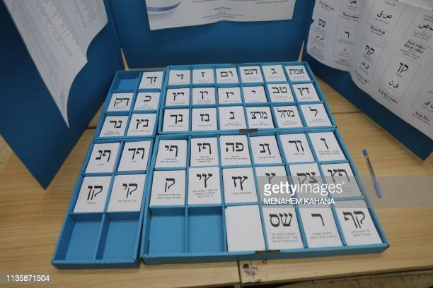 Ballots are lined up behind a voting booth during Israel's parliamentary elections on April 9 2019 in Jerusalem Israelis voted today in a highstakes...