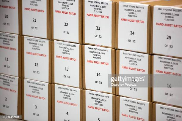 Ballots are pulled aside for a hand audit by Maricopa County Elections Department staff ahead of Tuesdays election on October 31, 2020 in Phoenix,...