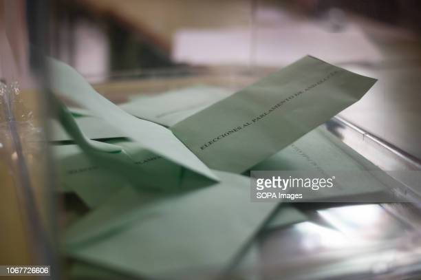 Ballots are seen inside a urn at a polling station during the regional elections in Andalusia. The vote in Andalusia, marked by the boom of Spanish...