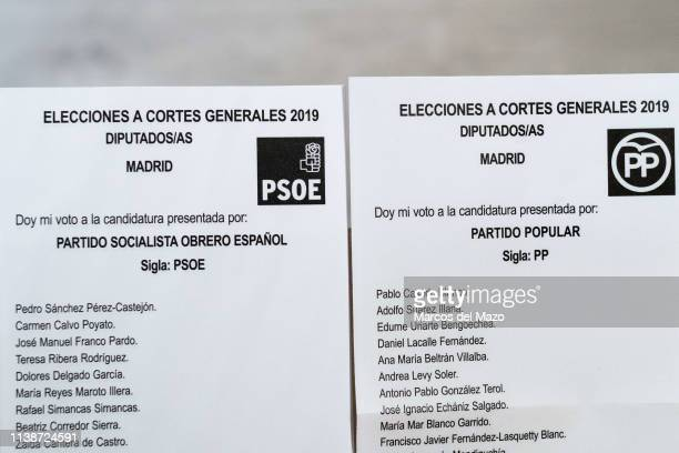 Ballots of PSOE party and PP party for the general elections that will take place on April 28 in Spain. Political parties are mailing the ballots...