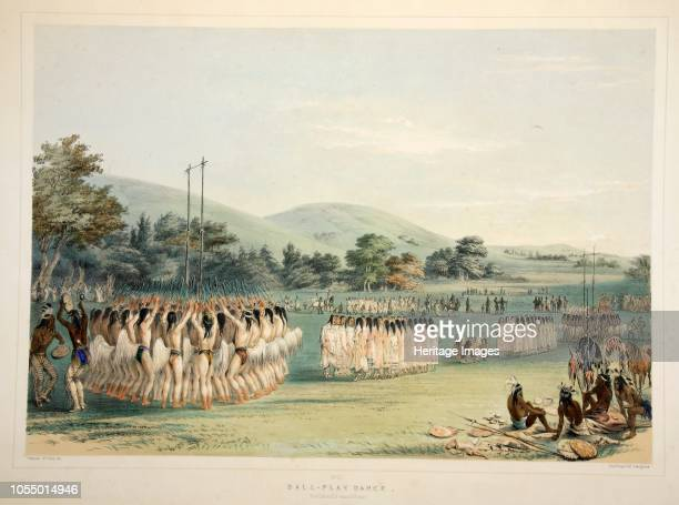 BallPlayer Dance from Catlin's North American Indian Portfolio Hunting Scenes and Amusements of the Rocky Mountains and Prairies of America pub 1845...