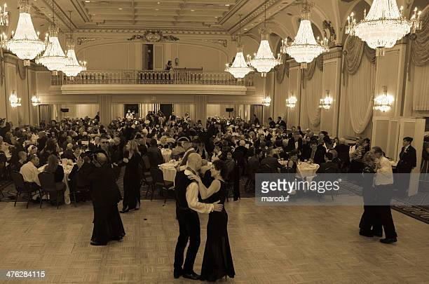 ballroom dance in black and white (sepia tone) - ballroom stock photos and pictures