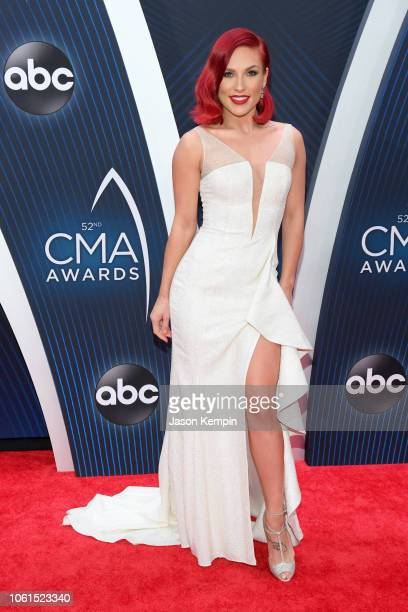 Ballroom dancer Sharna Burgess attends the 52nd annual CMA Awards at the Bridgestone Arena on November 14 2018 in Nashville Tennessee