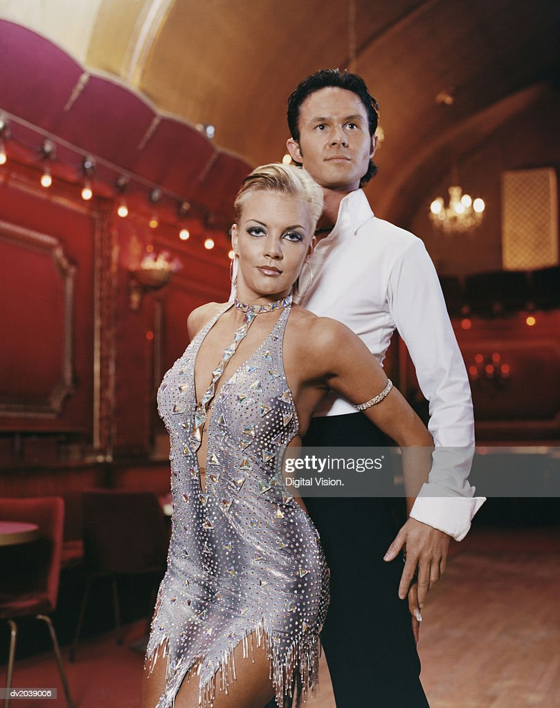 Ballroom Dancers Standing in a Melodramatic Pose : Stock Photo