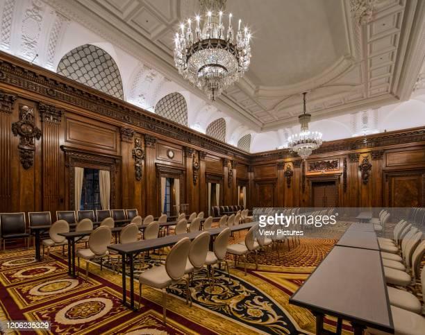 Ballroom laid out for conference. Ten Trinity Square - Four Seasons Hotel, City of London, United Kingdom. Architect: Aukett Swanke, 2017.