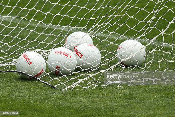 Balls are seen in the back of the goal net during the Australian International Rules Test training session at Patersons Stadium on November 20 2014...