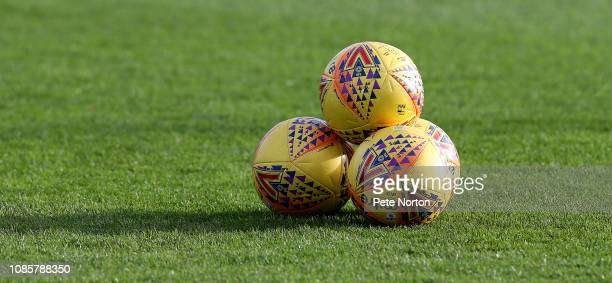 Balls are seen on the pitch prior to the Sky Bet League Two match between Yevoil Town and Northampton Town at Huish Park on December 22, 2018 in...