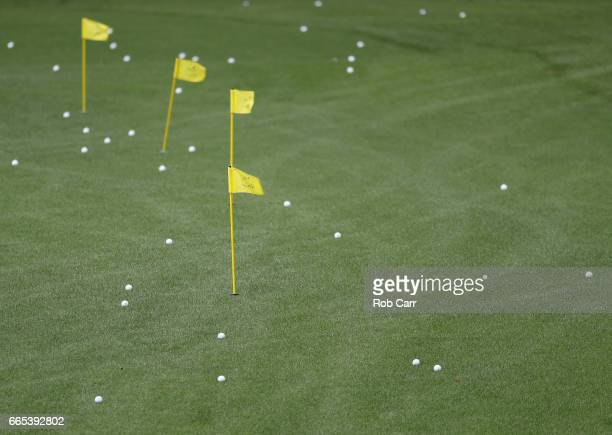 Balls are seen on the practice range during the first round of the 2017 Masters Tournament at Augusta National Golf Club on April 6 2017 in Augusta...