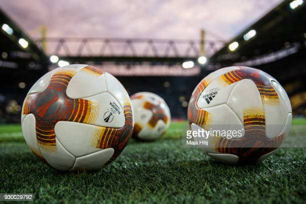 Balls are seen prior the UEFA Europa League Round of 16 match between Borussia Dortmund and FC Red Bull Salzburg at the Signal Iduna Park on March 8...