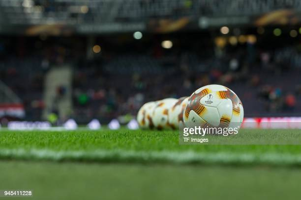 Balls are seen prior to the UEFA Europa League quarter final leg two match between RB Salzburg and Lazio Roma at Red Bull Arena on April 12 2018 in...