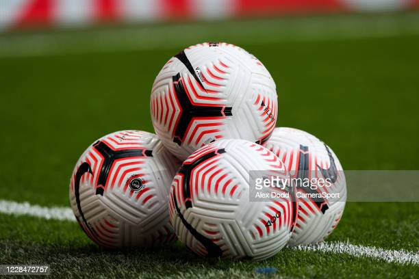 Balls are stacked inside Anfield before the Premier League match between Liverpool and Leeds United at Anfield on September 12, 2020 in Liverpool,...