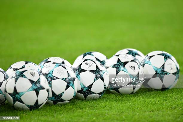 Balls lie on the pitch during the UEFA Champions League group B match between Bayern Muenchen and Celtic FC at Allianz Arena on October 18 2017 in...