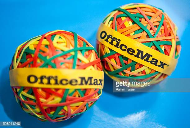Balls of OfficeMax brand rubber-bands are displayed in New York, on Thursday, March 4, 2010.