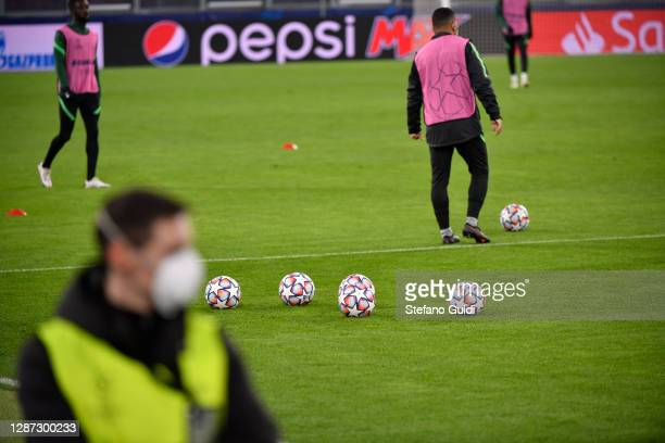 Balls of UEFA Champions League during of training session ahead of the UEFA Champions League Group G stage match between Ferencvaros Budapest and...