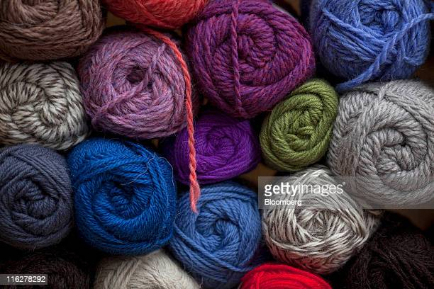 Balls of wool sit on display in the auction house of the British Wool Marketing Board in Bradford UK on Wednesday June 15 2011 Wool has surged 35...
