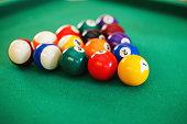 balls on a billiard table in a triangle. game of American billiards