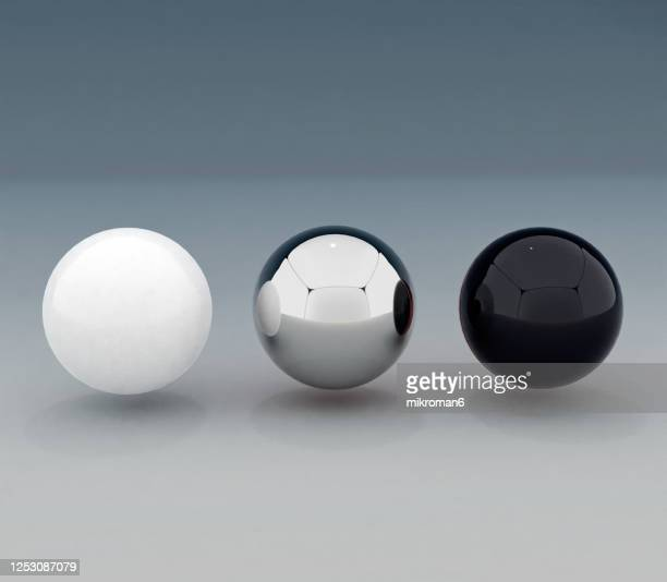 balls on gray background, 3d concept - three objects stock pictures, royalty-free photos & images